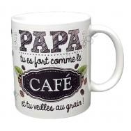 """Mug cadeau """"Papa tu es fort comme le café"""""""