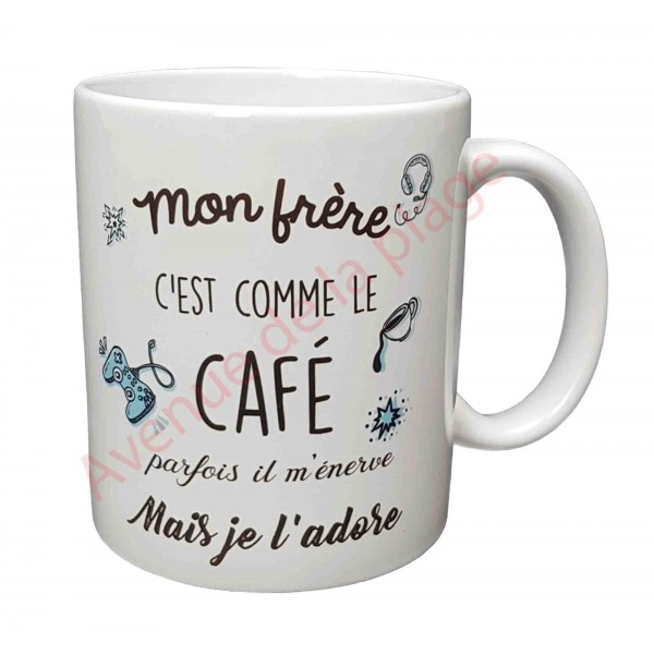 mug cadeau mon fr re c 39 est comme le caf cadeau pas cher. Black Bedroom Furniture Sets. Home Design Ideas