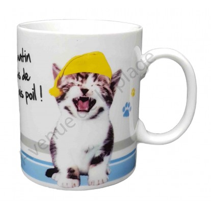 """Mug chat """"Le matin j'suis de mauvais poil !"""""""