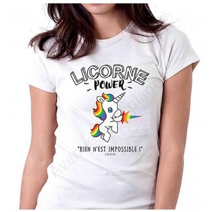 "T-shirt humoristique femme ""Licorne Power"""
