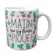 """Mug humoristique Cactus """"Qui s'y frotte..."""""""