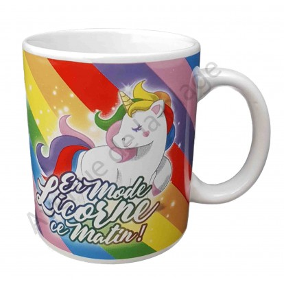 """Mug humoristique """"En mode Licorne ce matin"""""""
