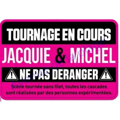 Plaque de porte Jacquie et Michel - Tournage en cours