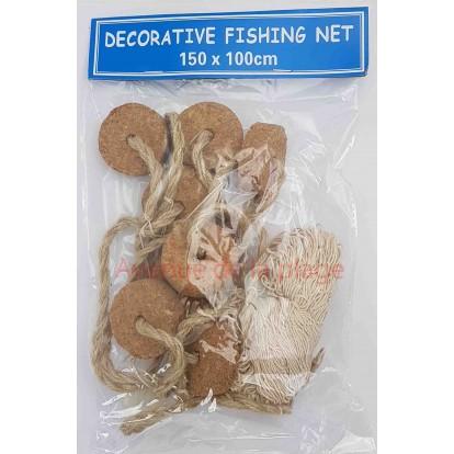 Filet de pêche corde 150 x 100 cm avec flotteurs