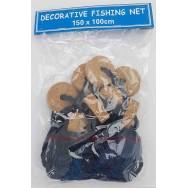 Filet de pêche bleu 150 x 100 cm avec flotteurs