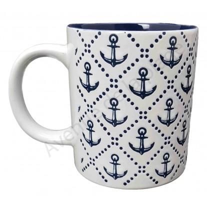Mug blanc ancres de bateau bleues marines