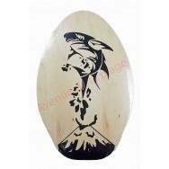 Planche de Skimboard bois naturel requin 76 cm