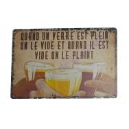 """Plaque vintage """"Quand un verre est plein..."""""""