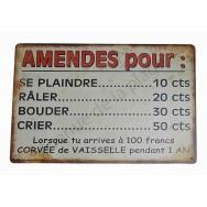 """Plaque vintage """"Amende pour..."""""""