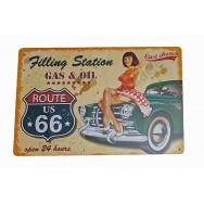 Plaque vintage Route 66 et voiture ancienne
