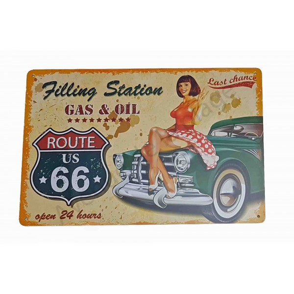 plaque vintage route 66 et voiture ancienne pancarte r tro. Black Bedroom Furniture Sets. Home Design Ideas