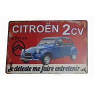 Plaque vintage Citroën 2 CV