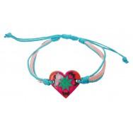 Bracelet Coeur en cuir et coton