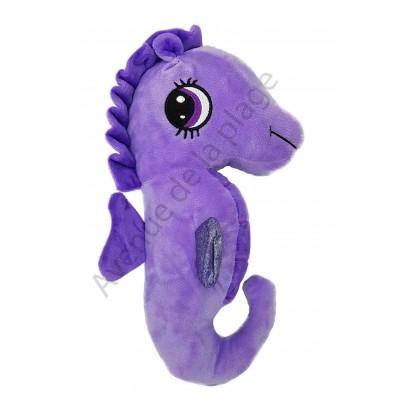Peluche hippocampe 30 cm violet