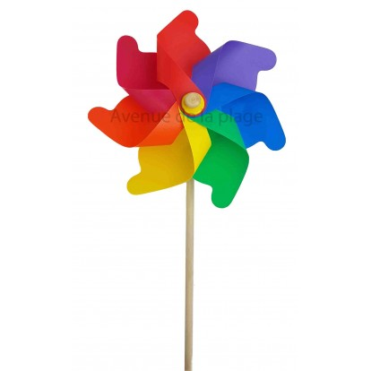 Moulin à vent éolienne multicolore 31 cm