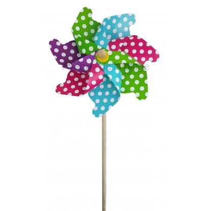 Moulin à vent éolienne multicolore à pois 31 cm