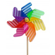 Moulin à vent éolienne multicolore à rayures 31 cm