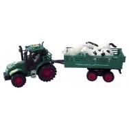 Tracteur + remorque et animaux 32 cm vert.