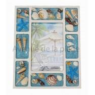 Cadre photo coquillages et sable bleu C