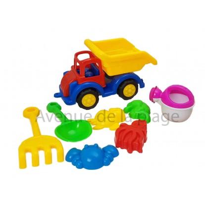 Camion de chantier avec accessoires de plage