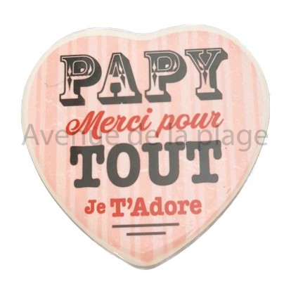 Magnet Coeur Papy je t'adore