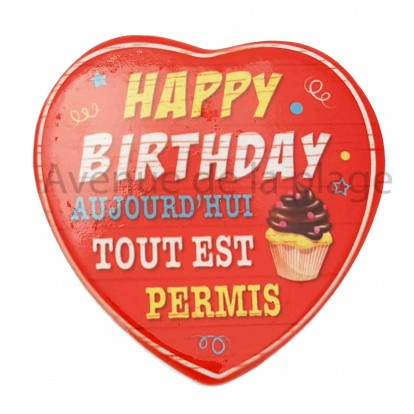 Magnet Coeur Happy Birthday
