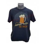 """T-shirt humoristique """"Tout travail mérite sa bière"""""""
