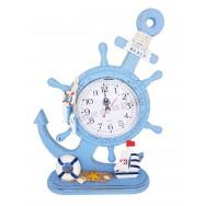 Horloge bleue style marin en bois ancre et roue
