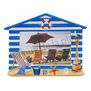 Cadre photo cabine de plage rayée bleue et blanche