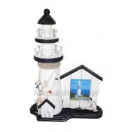Phare marin avec cadre photo cabine de plage