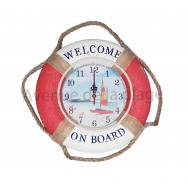 "Pendule bouée ""Welcome on board"" avec le voilier"