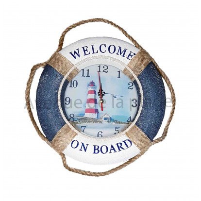 "Pendule bouée ""Welcome on board"" avec le phare"
