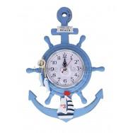 Pendule bleue en bois ancre et roue