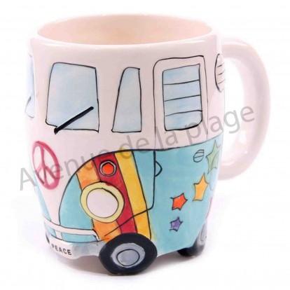 Mug camping car psychédélique bleu