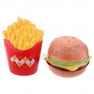 Ensemble sel et poivre fast food : burger & frites