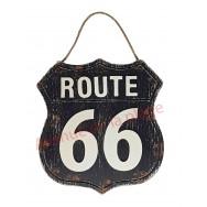 Pancarte Route 66 noire à suspendre