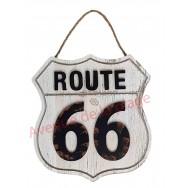 Pancarte Route 66 blanche à accrocher