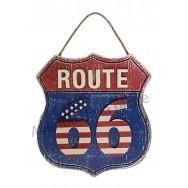 Plaque US route 66 drapeau Américain