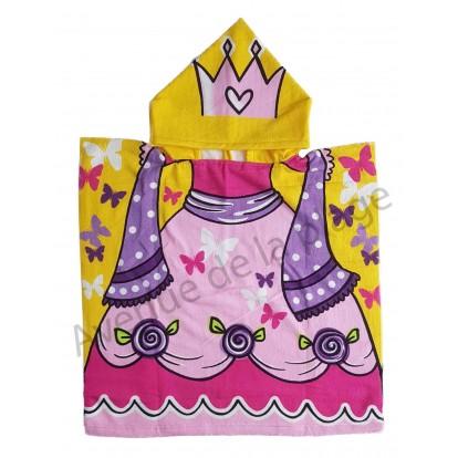 Cape de bain pour enfant princesse et papillons