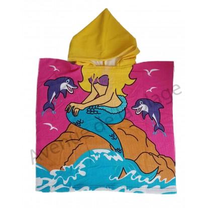 Poncho pour enfant sirène sur rocher
