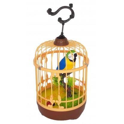 Perroquet bleu en cage sonore