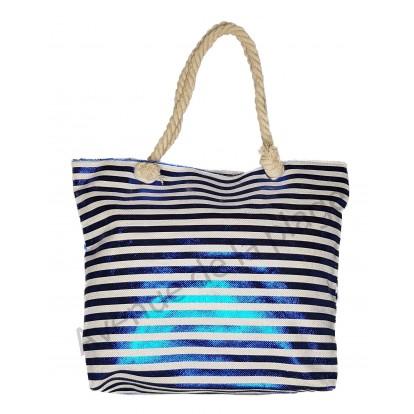 Sac de plage rayures bleues brillantes