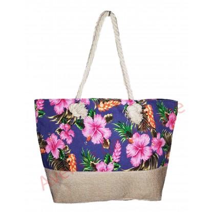 Sac de plage fleurs d'hibiscus et toile de jute