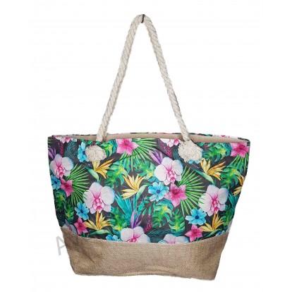Sac de plage orchidée et fleur tropicale