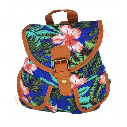 Mini sac à dos fleurs d'hibiscus