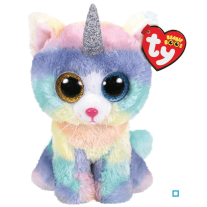 Peluche Ty Beanie Boo's Heather le chat licorne 17 cm