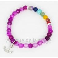 Bracelet 7 chakras et agate rose
