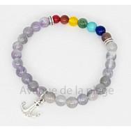 Bracelet 7 chakras et améthyste