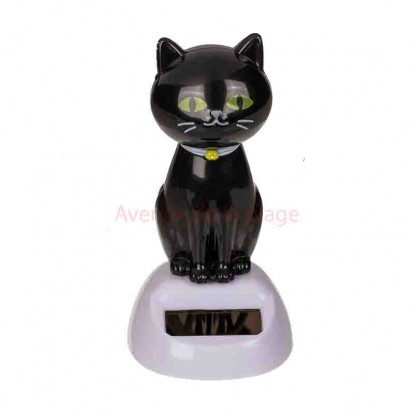 Figurine solaire chat noir