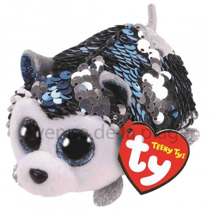 Peluche Teeny Ty flippables sequins Slush le chien husky
